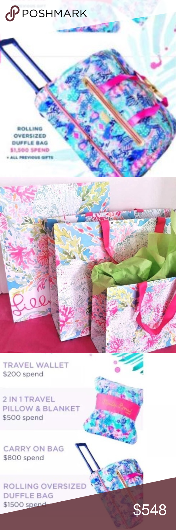 66de90cd63 Lilly Pulitzer Rolling Oversiz Duffel Bag Suitcase Lilly Pulitzer Multi  QUILL OUT ROLLING OVERSIZED DUFFEL BAG