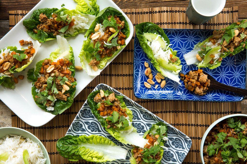 teriyaki schweinehack in romana salat schiffchen mit reis marley spoon abendessen. Black Bedroom Furniture Sets. Home Design Ideas