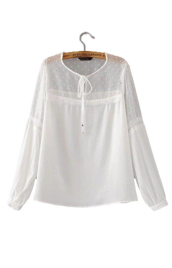 a3717d6fbb1 Trendy-Road-Style-Shop-Online-Woman-Fashion-Street-Blouse-Loose -Chiffon-Lace-Top-Long-Sleeve-VNeck-white