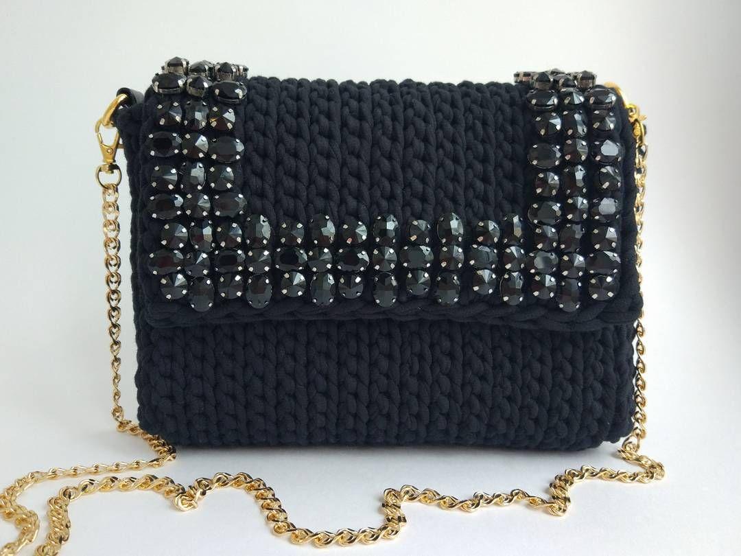 8c203369b952 Трикотажная сумка крючком сумка из трикотажной пряжи схема крючком ...