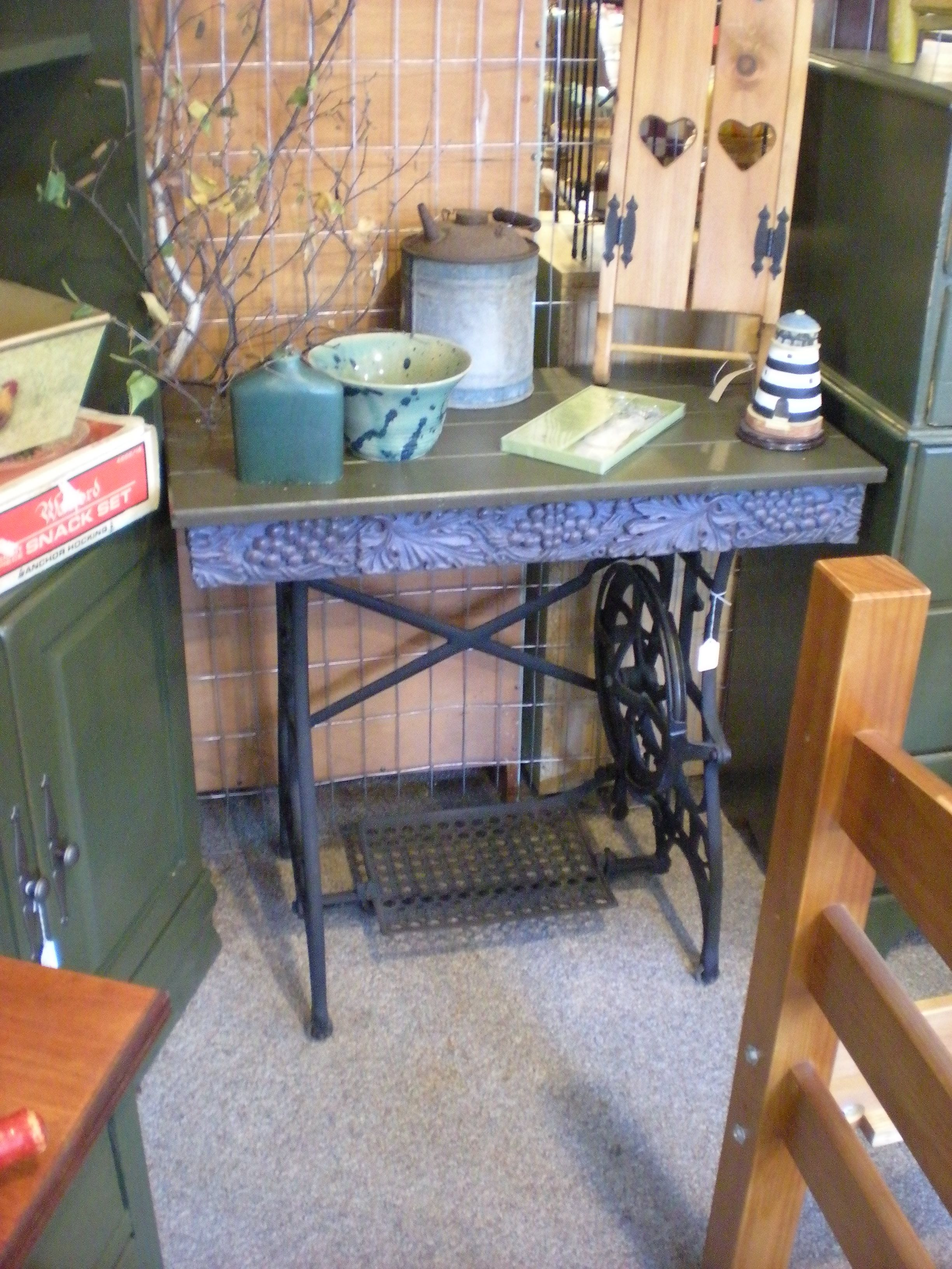table from old treadle machine base
