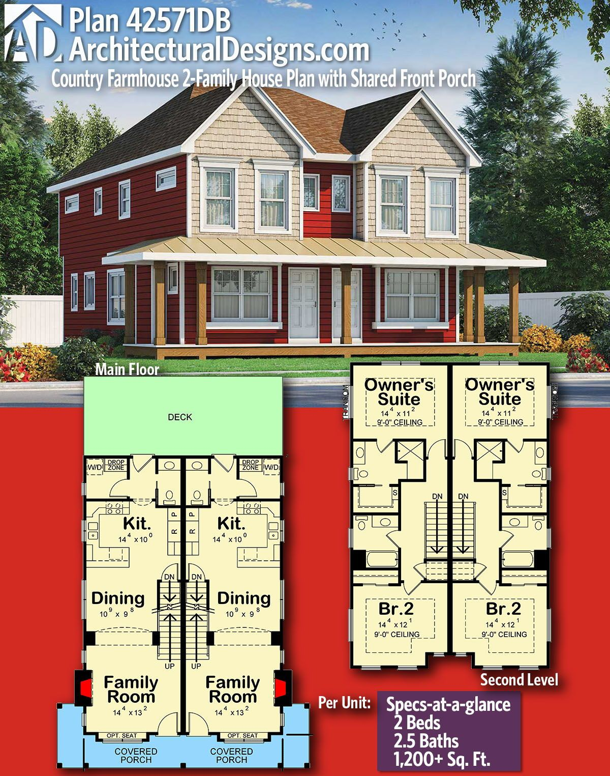 Plan 42571db Country Farmhouse 2 Family House Plan With Shared Front Porch In 2020 Family House Plans Small House Plans House Plans