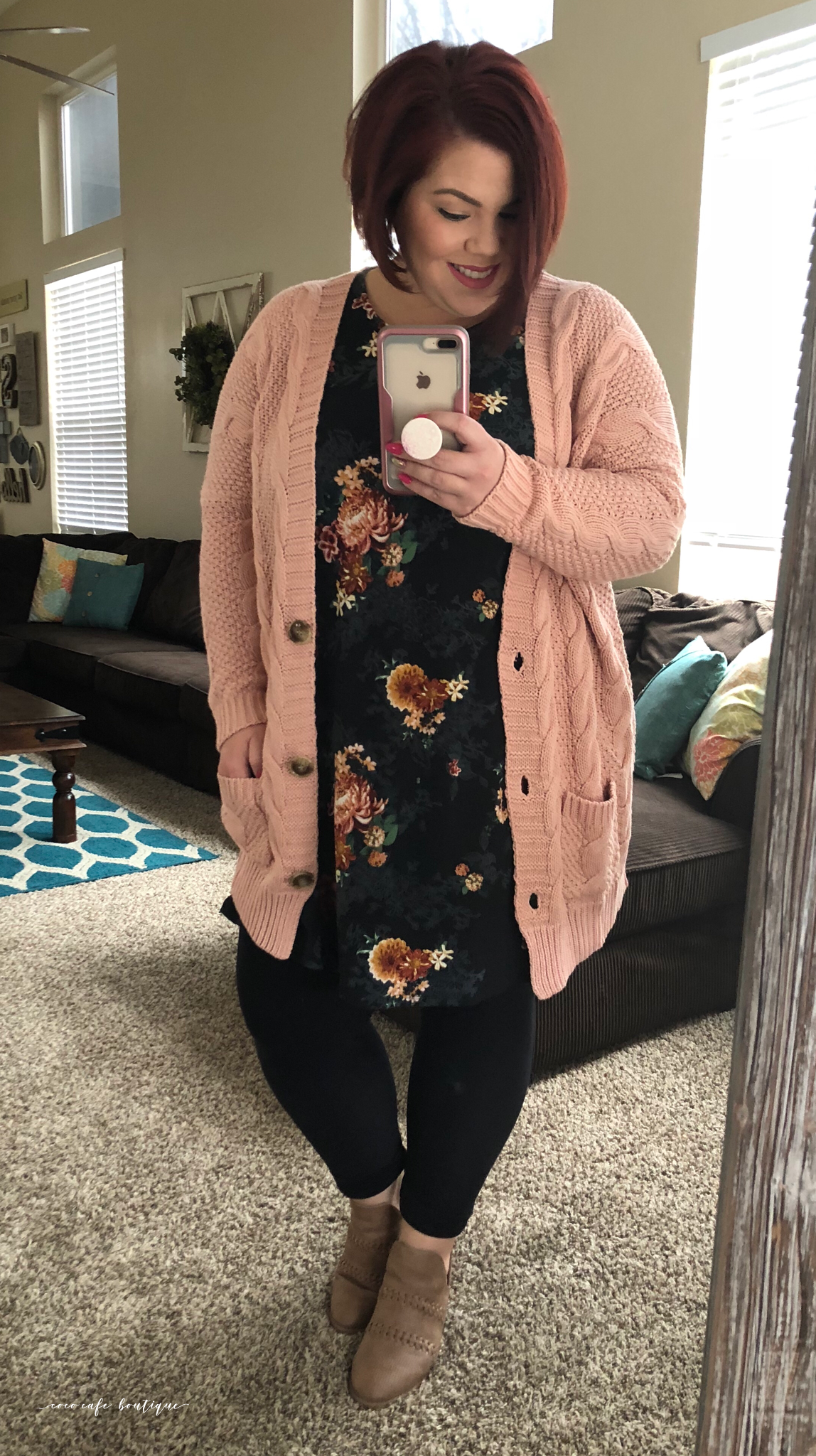 7479ab1d3f12a The Agnes and Dora Boyfriend Cardigan is life y'all! I'm digging this blush  color over the Vintage Floral Swing Tunic. #AgnesAndDora #BoyfriendCardigan  ...