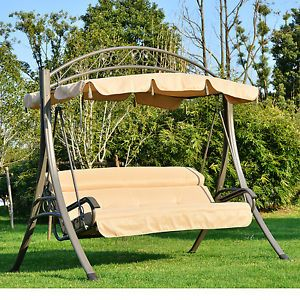 Outdoor Garden Metal Swing Chair 3 Seater Swinging Hammock