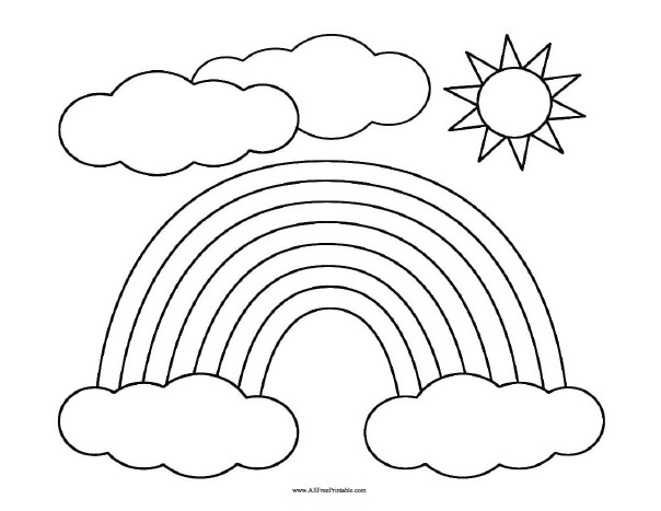 Rainbow With Clouds Coloring Page St Patrick S Day Coloring Pages Nature Rainbow Clipart Rainbow Pages