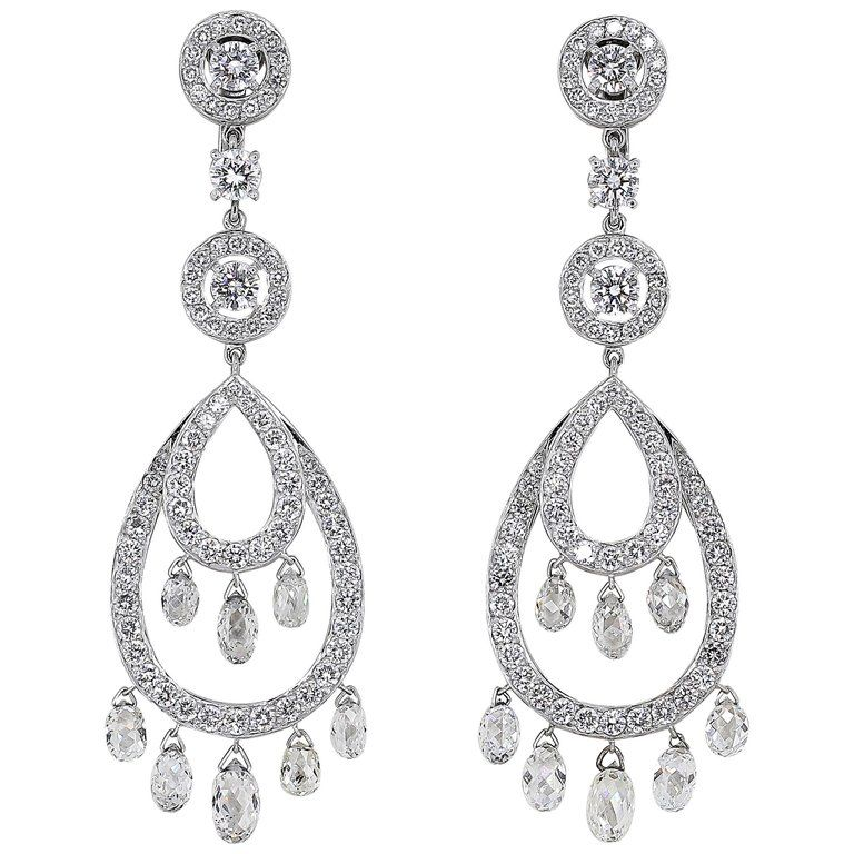 Boucheron Cinna Pampilles Diamond and White Gold Pendant Earrings 1