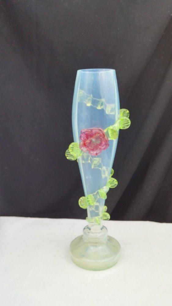 Stevens And Williams Vaseline Glass Vase W Applied Flowers Circa