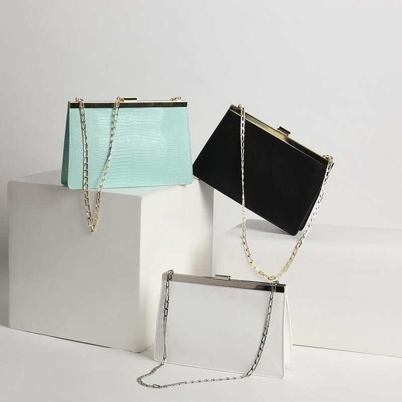 11cbe35c85ad Mint Green Python Leather Handbags Square Shoulder Chain Bags in ...