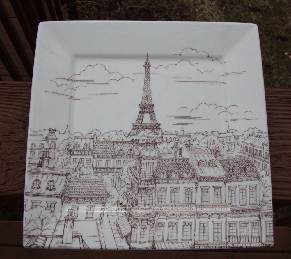 222 Fifth City Scenes Paris Square Sepia Dinner Plate - Eiffel Tower - Estate #222Fifth & 222 Fifth City Scenes Paris Square Sepia Dinner Plate - Eiffel Tower ...
