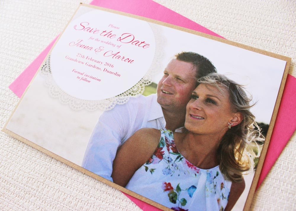 Beautiful kraft-layered Save the Date card with pink envelope