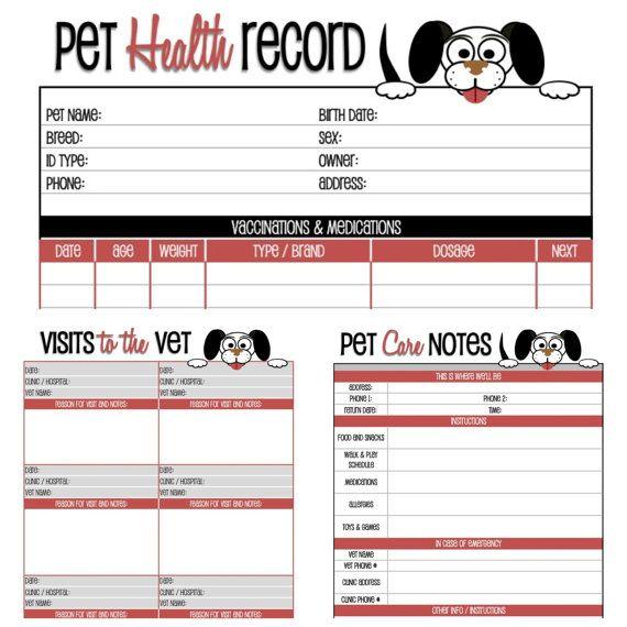 Cat health record printable free