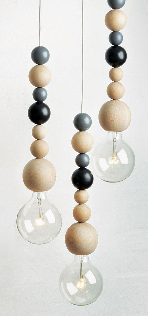 """Ball Lamp"" mit Holzkugeln Holzkugeln, Lampe"