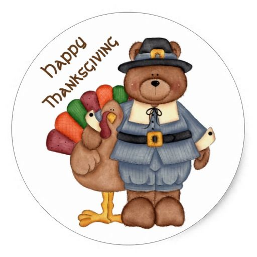 Thanksgiving Stickers Pilgrim Bear And Turkey Classic Round