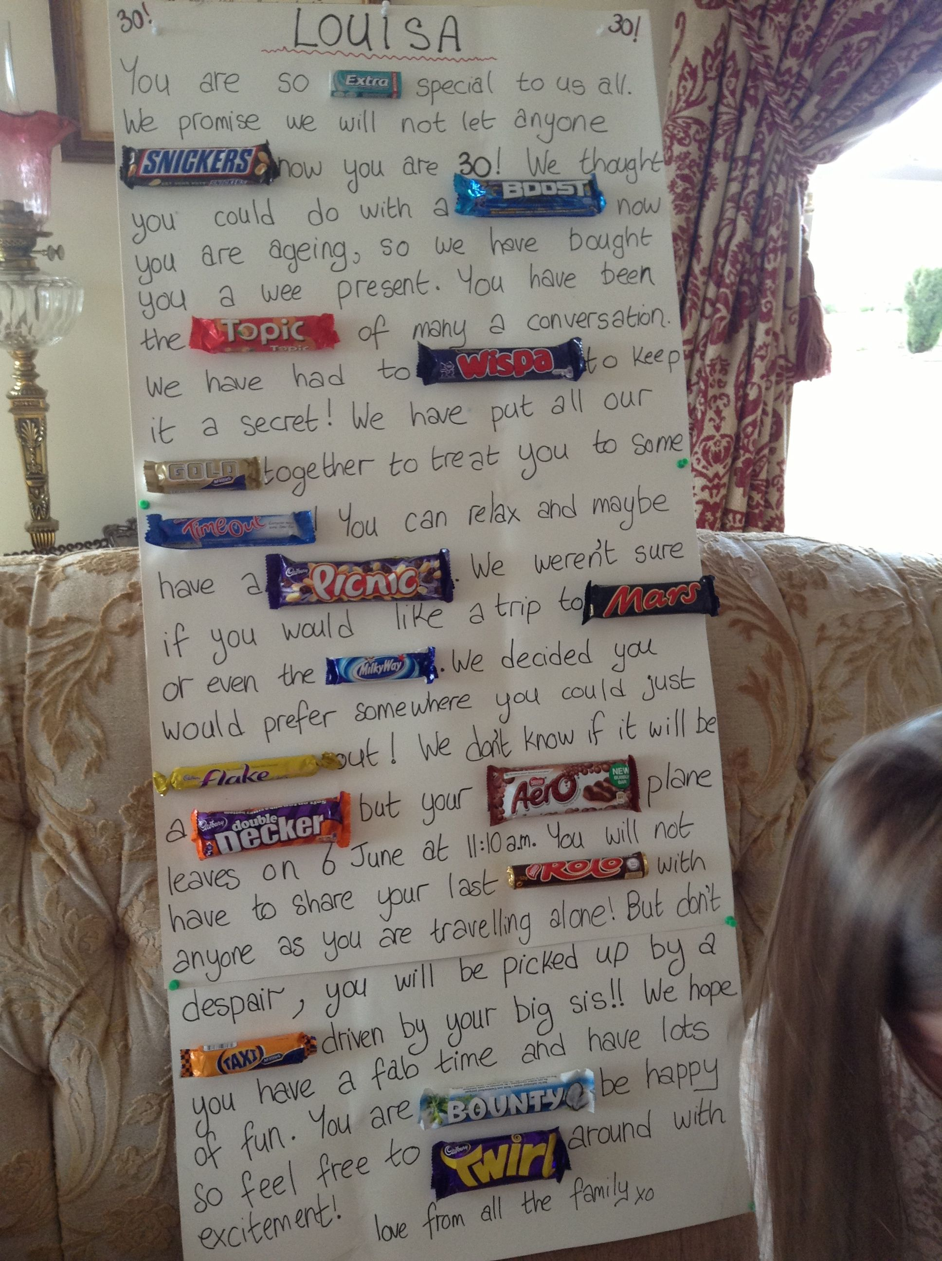 Chocolate Bar Poster For My Sister In Laws 30th Birthday Can Be Used Lots Of Occasions