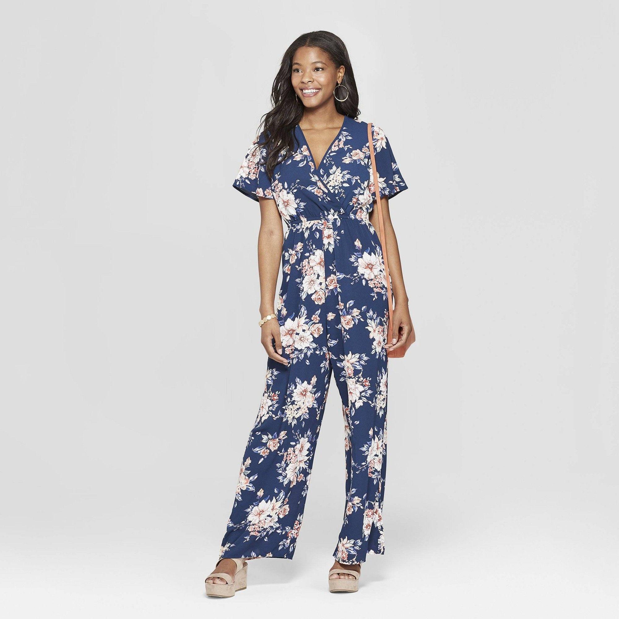 f834e0d681 Women's Floral Print Short Sleeve Wrap Jumpsuit - Xhilaration Navy Xxl, Blue
