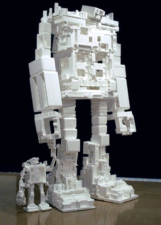 What To Do With Styrofoam Packaging Waste Make Giant Styrofoam Robots By Michael Salter Styrofoam Art Robot Sculpture Robot Art