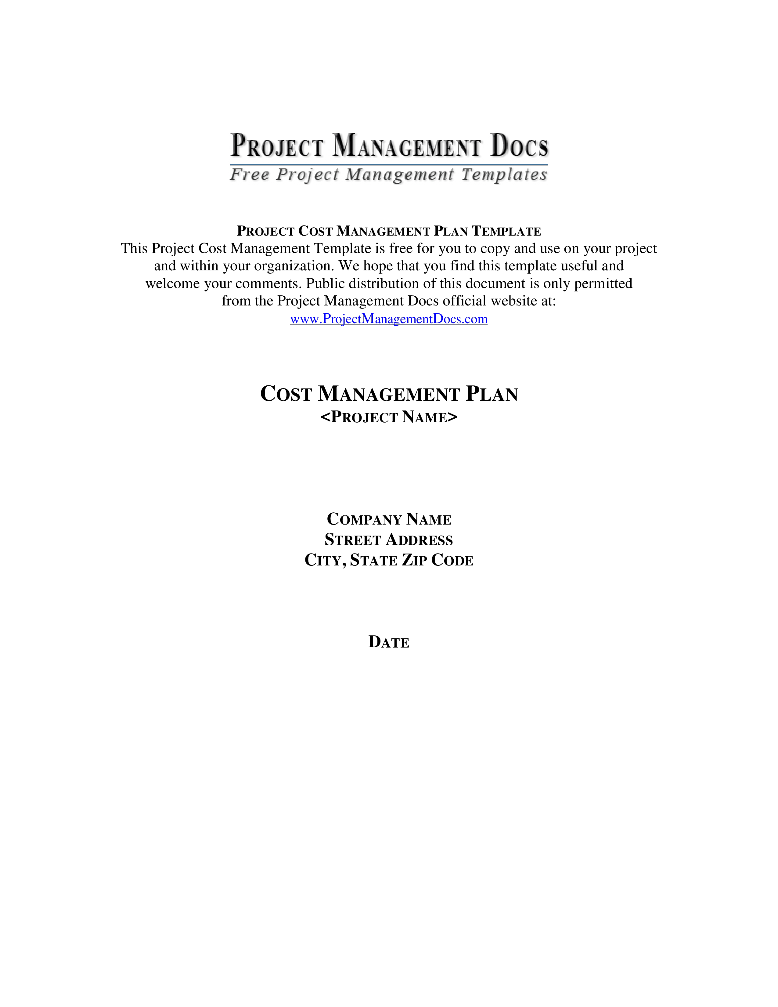 Cost Management Plan Template PMBOK Project Cost Management Plan - Pmp project management plan template