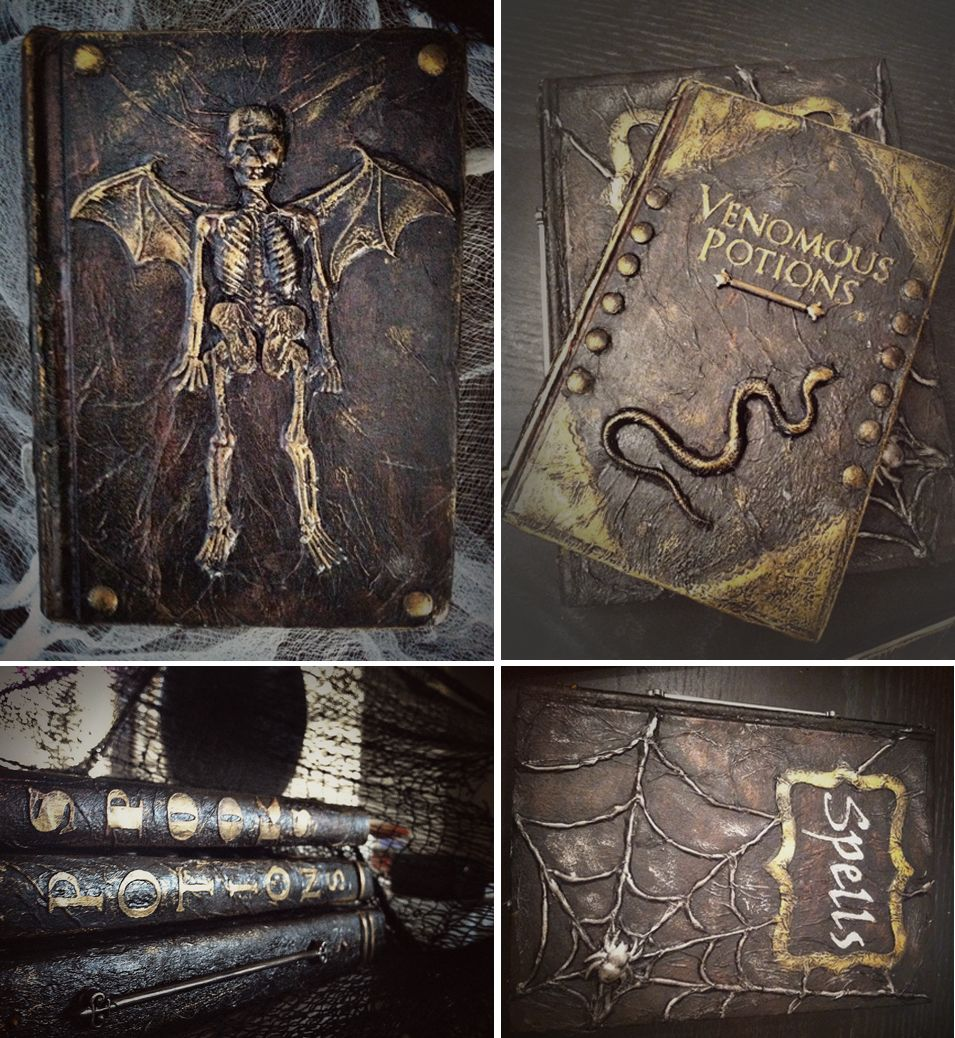 """Aged """"leather"""" spell & potion books for Halloween. Made with paint, tissue, and dollar store toys! Looks great for HP decor too."""