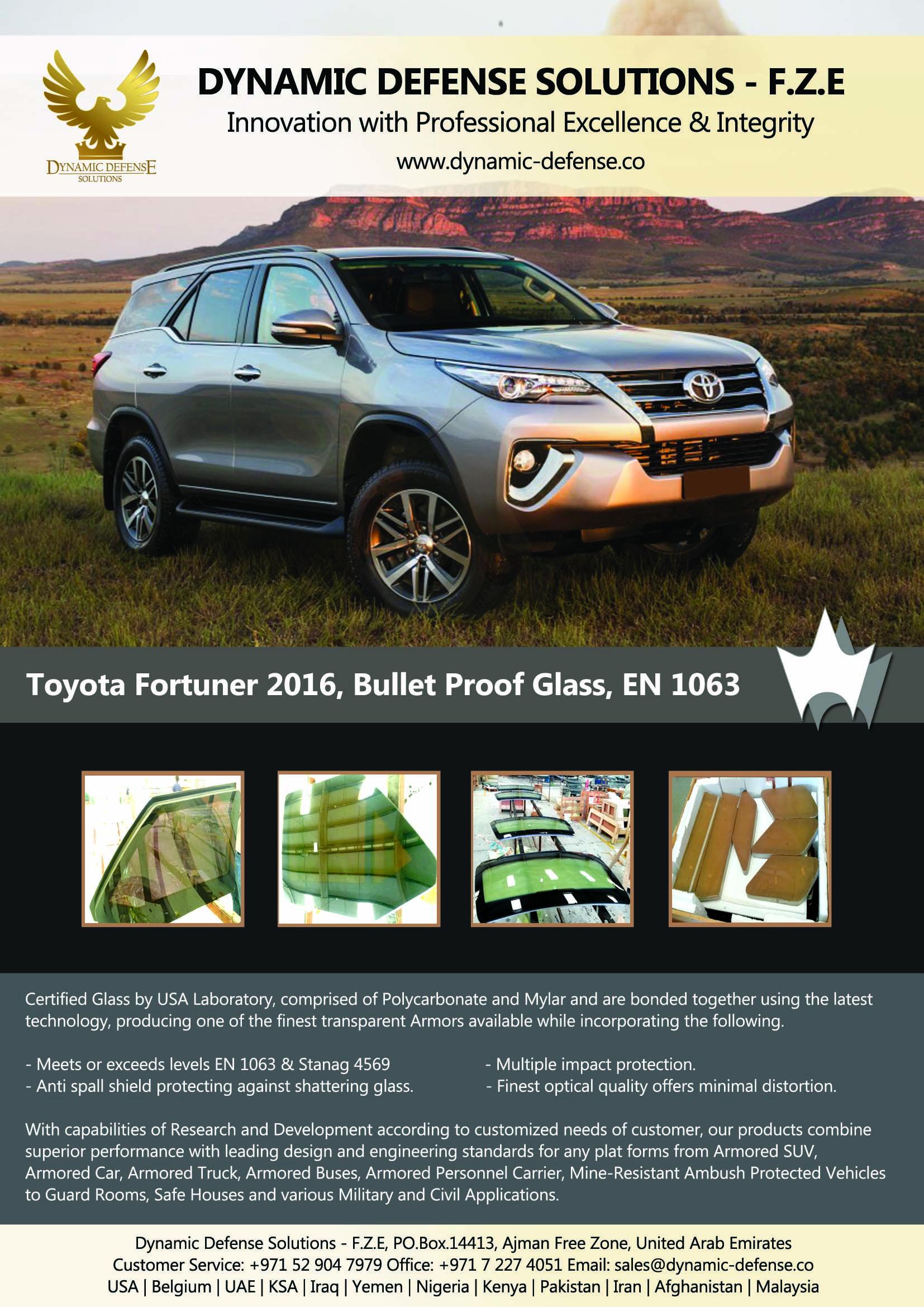 Toyota Fortuner 2016, Bullet Proof Glass, EN 1063   Armored