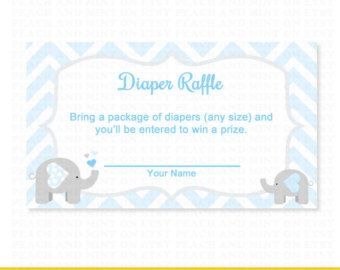 Free Printable Elephant Diaper Raffle Raffle Ticket