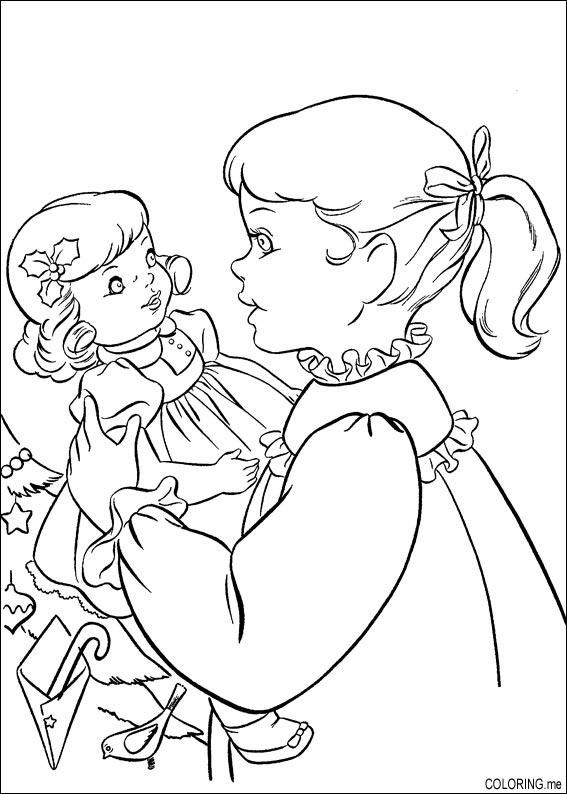 Cute Coloring Page Of Girl With Her Doll Christmas Coloring Pages