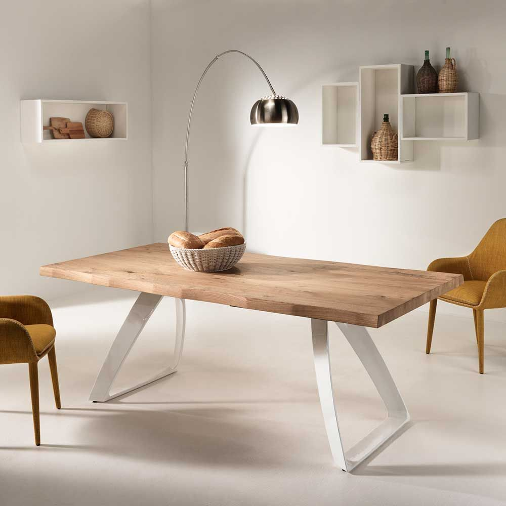 esszimmertisch mit eiche furniert wei metall jetzt bestellen unter. Black Bedroom Furniture Sets. Home Design Ideas