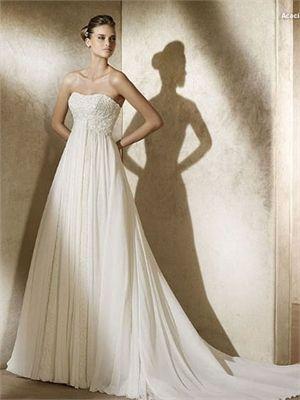 Refined Strapless Empire Waist Applique Chiffon Small Train Wedding Dress WD0976 www.tidebridaldresses.com $235.0000