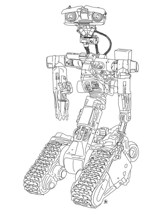 johnny 5 from short circuit coloring page s