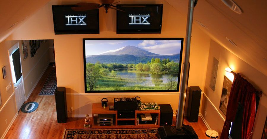 Home Entertainment Installation Design With Flat Panel LCD And Ceiling Fan  ~ Http://