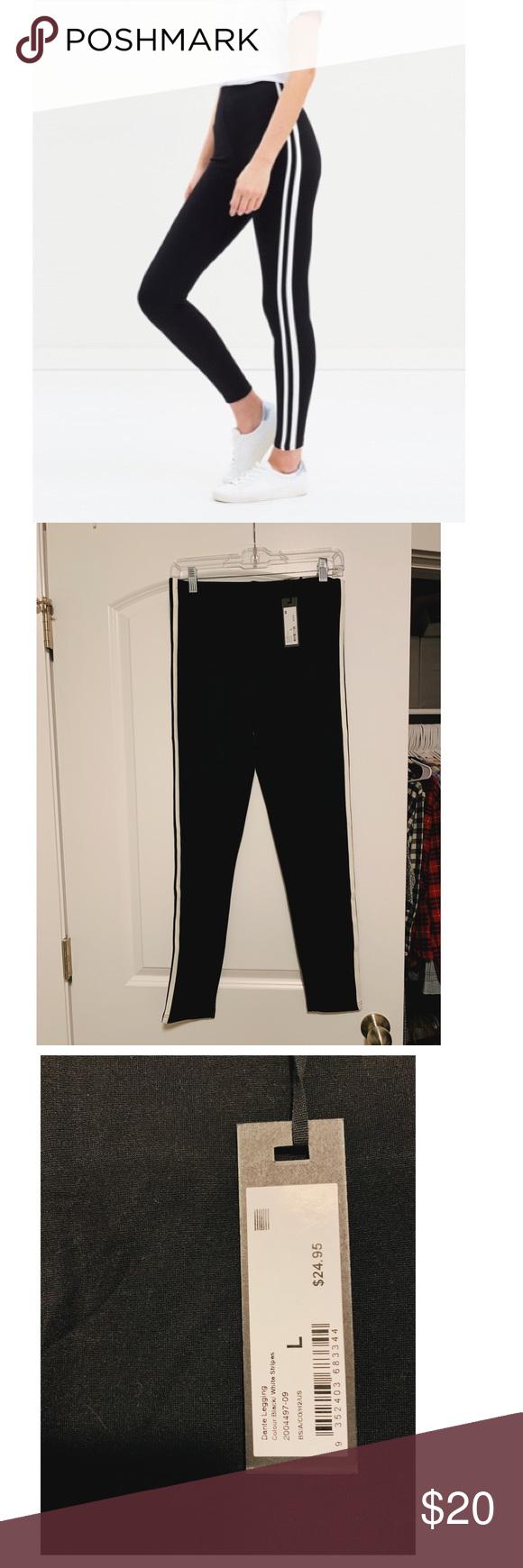 Cotton On Dante Legging Black And White Striped Black Leggings Leggings Are Not Pants White Stripe