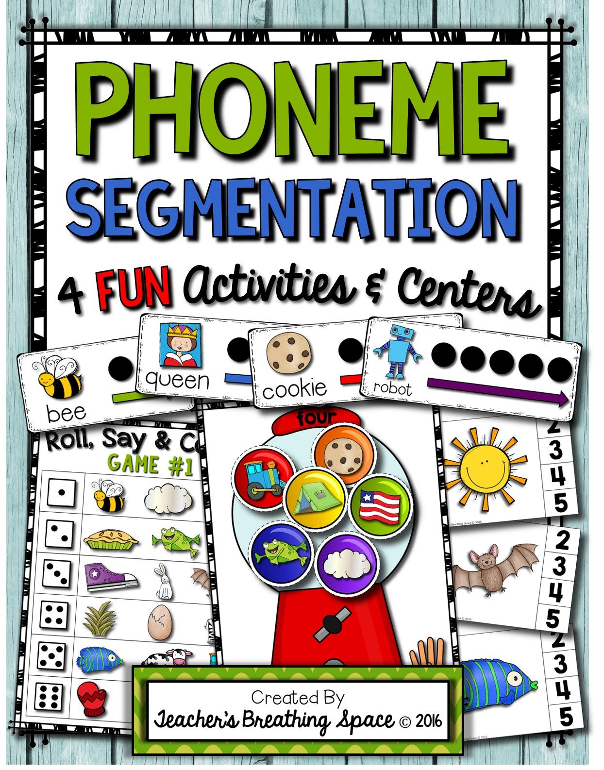 Phoneme Segmentation Sorting Clip Cards Segmenting