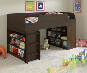 Best Ameriwood Cherry Loft Bed With Bookcases Big Lots With 400 x 300