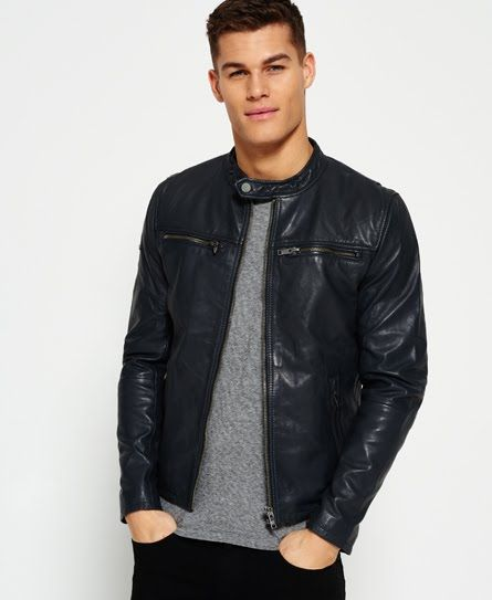 ac2944255aa47 Superdry Classic Real Hero Biker Leather Jacket Grey