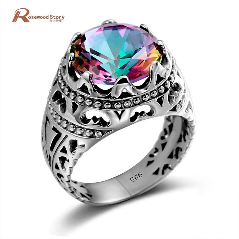 925 Sterling Silver Women Rings Manufacturers Handmade Mystic Rainbow Topaz Cz Ring Vintage Party Jewelry Lady Sailor Moon