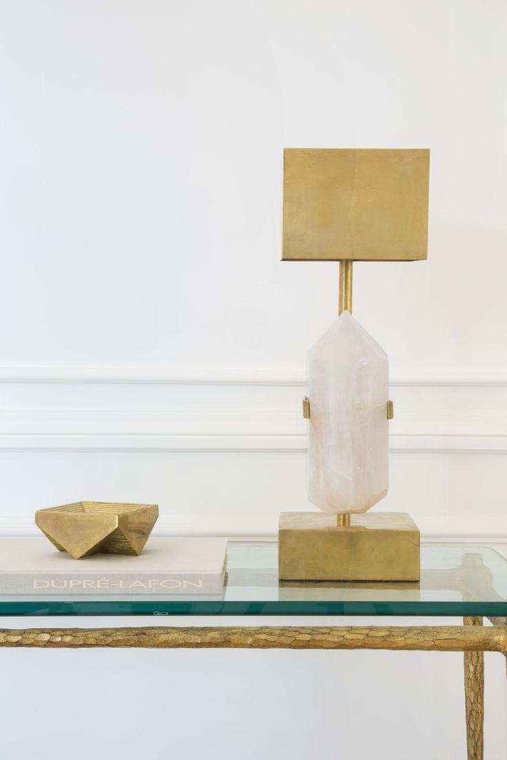 Halcyon desk lamp quartz w brass natural kelly wearstler and