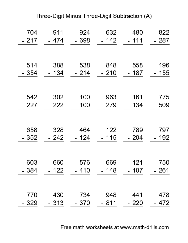 Subtraction Worksheet  ThreeDigit Minus ThreeDigit Subtraction