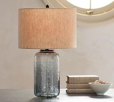 Cfl alana glass cylinder table lamp indigo table lamp base alana luster glass table lamp base indigo mozeypictures Gallery