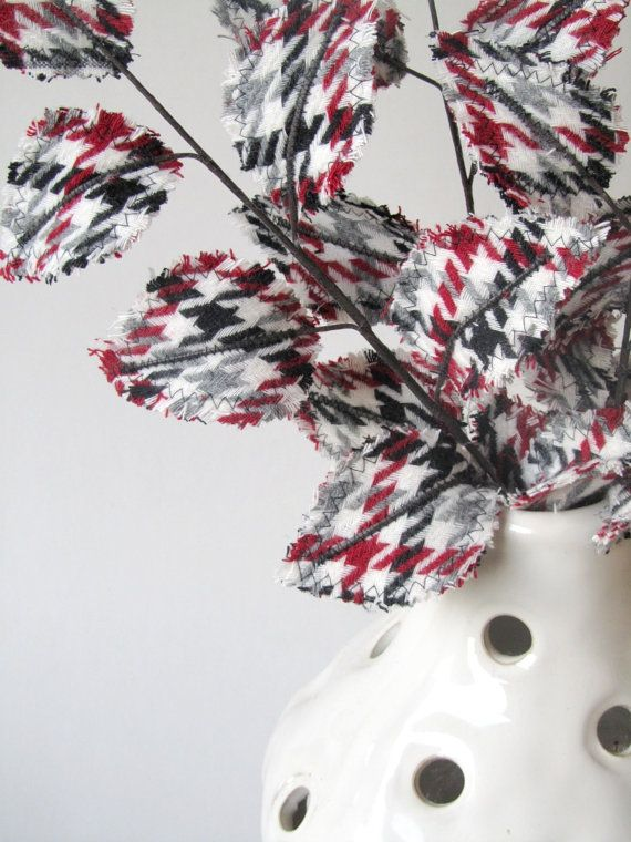 Fabric Leaves  Red Winter White Black Grey Houndstooth by janejoss
