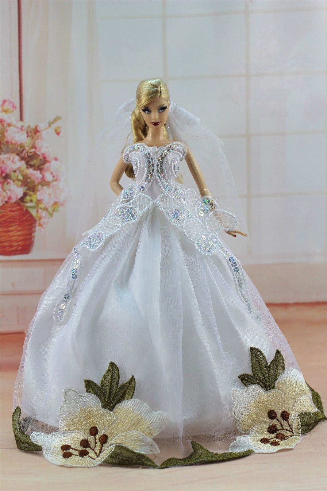 Fashion Handmade Princess Dress Wedding Clothes Gown+shawl for 11.5in.Doll #03