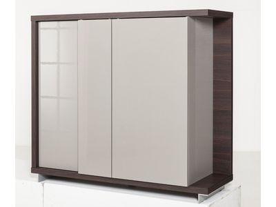 Bahut 3 Portes SALENTO chêne tortona et gris brillant Design