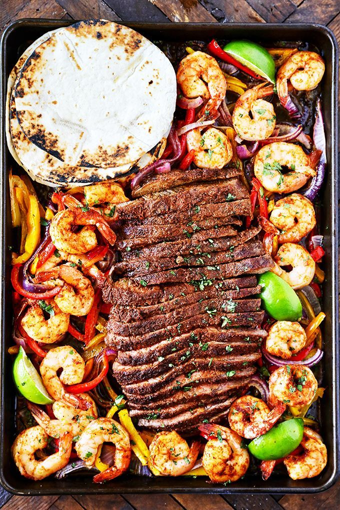 Steak and Shrimp Sheet Pan Fajitas