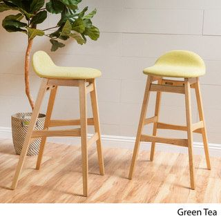 Moria 35 Inch Green Fabric Bar Stool (Set Of 2) By Christopher Knight