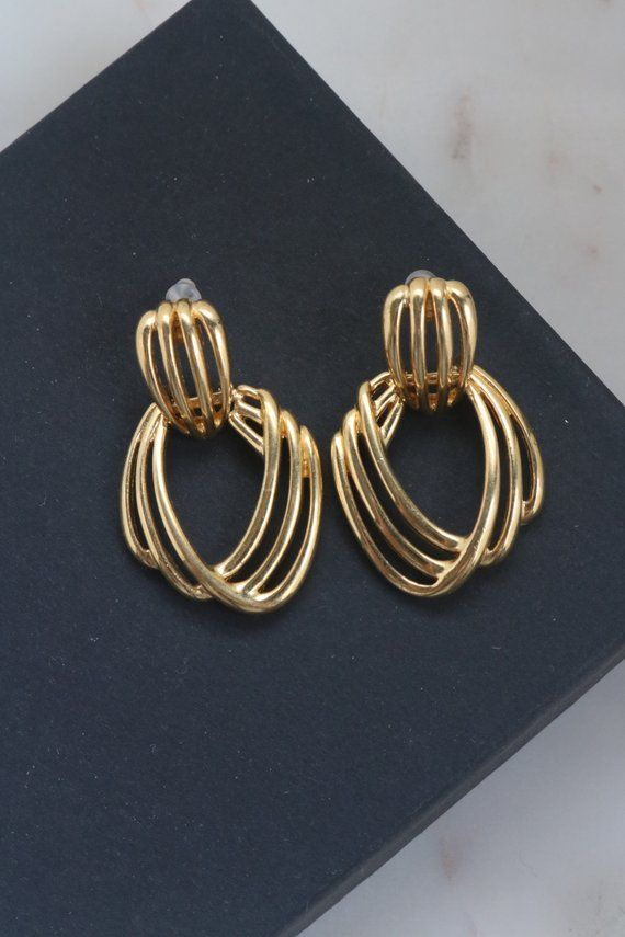 Vintage Monet Door Knocker Earrings Gold Hoop Dangle