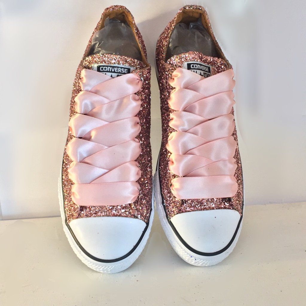 Sparkly Rose Gold Pink Glitter Converse
