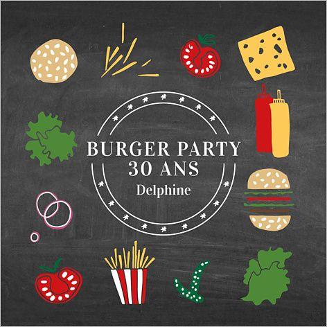 carte d 39 invitation anniversaire burger party personnaliser sur am ricanisez. Black Bedroom Furniture Sets. Home Design Ideas