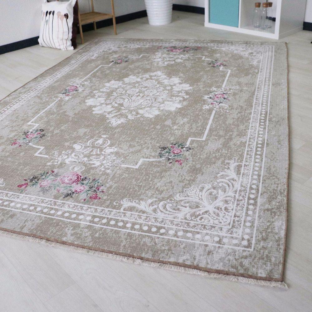 Details zu Teppich waschbar und rutschhemmend in Braun Beige ...