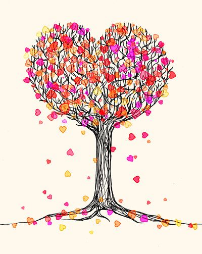 Love in the fall heart tree illustration trees in for Cute tree drawing