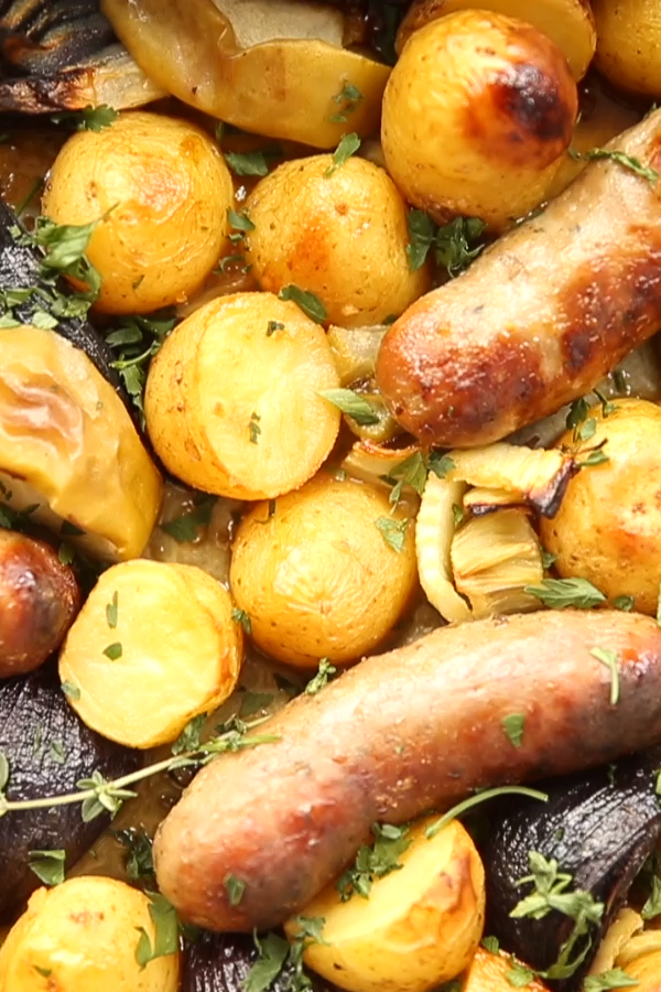 Honey Mustard Sausage Tray Bake