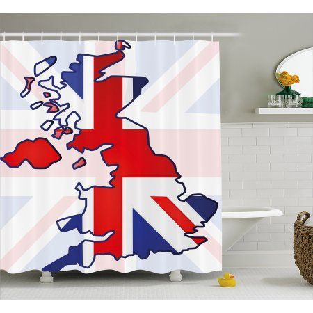 Union Jack Shower Curtain Faded United Kingdom Flag And Country Map Composition Nations Symbols Fabric Bathroom Set With Hooks 69W X 84L Inches Extra