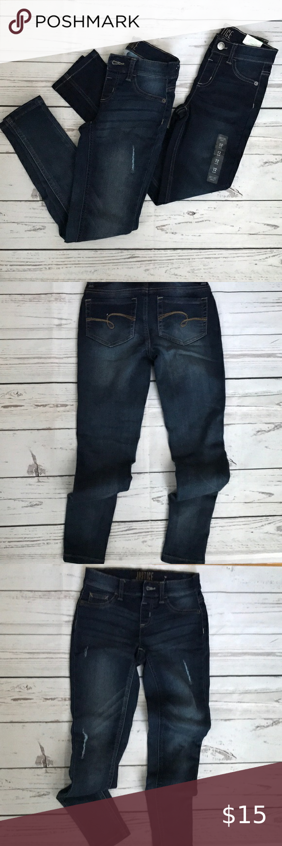 Bundle Two Pairs Of Justice Jeans Clothes Design Size 12 Girls Jeans